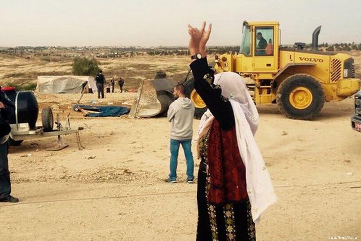 The aftermath of Israeli bulldozers razing Al-Araqeeb village in Negev [Sarah Stern/Twitter]
