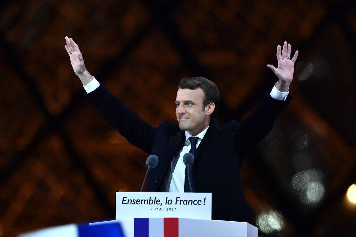 Emmanuel Macron makes a speech after winning the 2017 French election at the Esplanade du Louvre in Paris, France on May 07, 2017 [Mustafa Yalçın/Anadolu Agency]