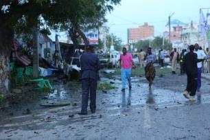 Damaged roads are seen, after a bomb exploded in Mogadishu, Somalia on May 8, 2017 [Sadak Mohamed/Anadolu Agency]