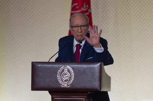 Tunisian President Beji Caid Essebsi seen at a press conference at Conference Palace in Tunis, Tunisia on May 10, 2017 [Amine Landoulsi / Anadolu Agency]