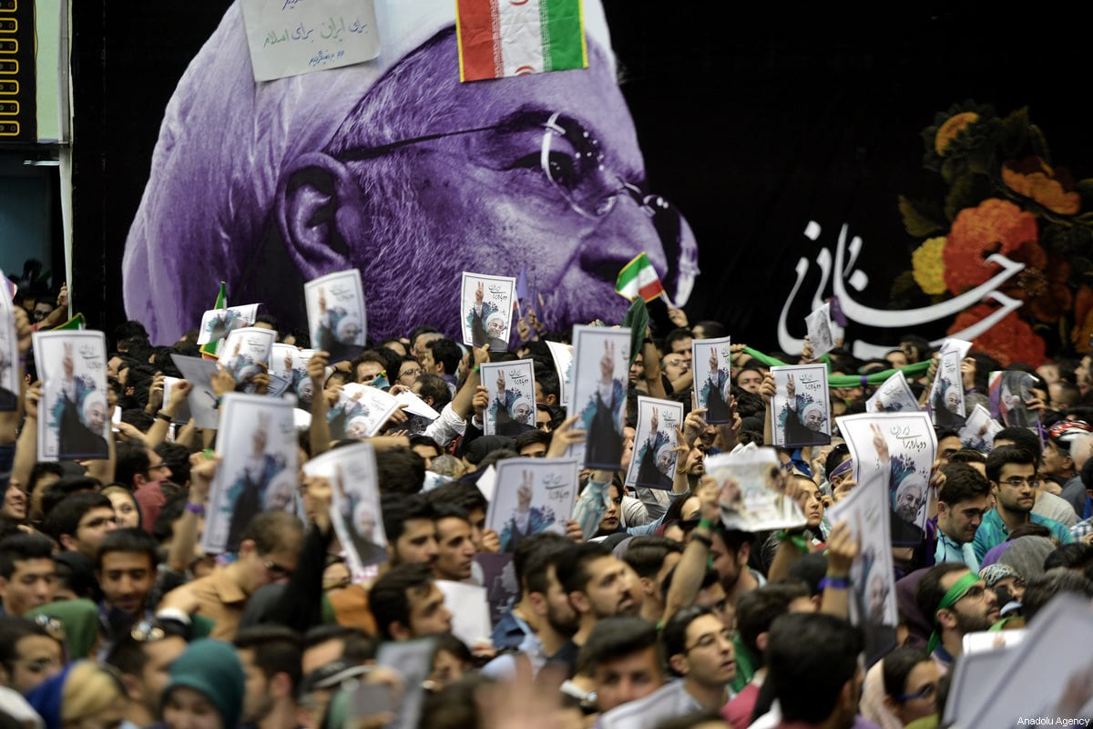 Supporters of Iranian Presidential candidate Hassan Rouhani attend a rally in Tehran, Iran on 14 May, 2017 [Fatemeh Bahrami/Anadolu Agency]