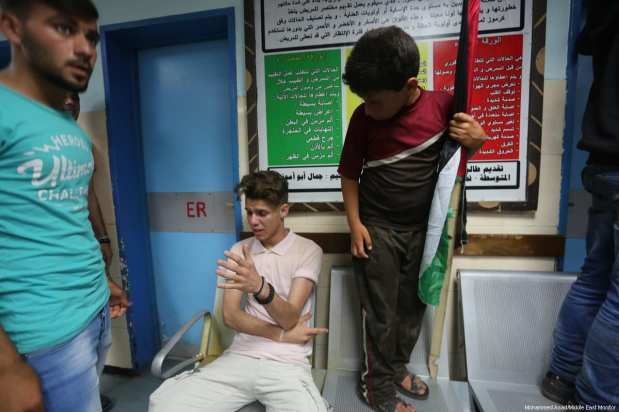 Family and friends mourn the loss of Muhammad Majid Bakr, a 23-year-old resident from the Al-Shati refugee camp, who was shot by Israeli naval forces at around 08:30 on 15 May 2017 while fishing off the coast of Gaza with his brother Umran Majid Bakr. [Mohammed Asad/Middle East Monitor]