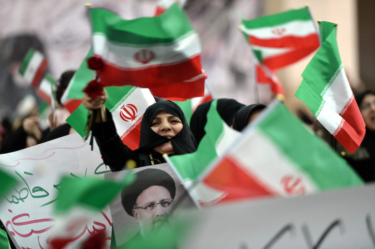 Iranians seen during a rally prior to presidential elections in Tehran, Iran on May 16, 2017. ( Fatemeh Bahrami - Anadolu Agency )