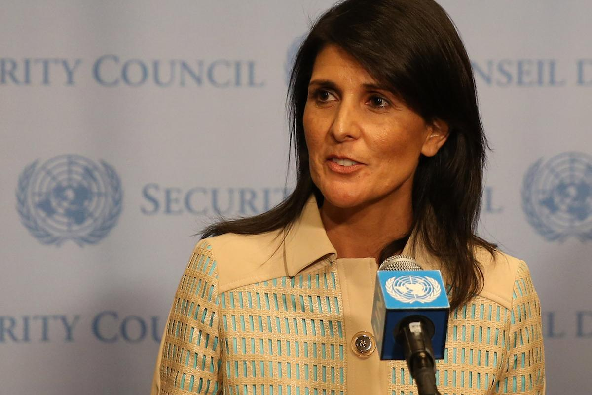Image of US Ambassador to the United Nations Nikki Haley (C) in New York, US on 16 May, 2017 [Mohammed Elshamy/Anadolu Agency]