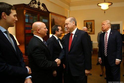 President of Turkey Recep Tayyip Erdogan (2nd R) meets with US National Security Advisor Herbert Raymond McMaster (2nd L) in Washington, US on May 16, 2017 [Kayhan Özer/Anadolu Agency]