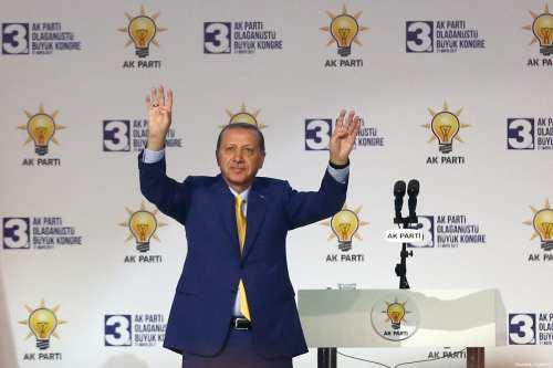 Turkish President Recep Tayyip Erdogan greets supporters during the third extraordinary congress of Turkey's ruling Justice and Development (AK) Party in Ankara, Turkey on May 21, 2017 [Evrim Aydın / Anadolu Agency]