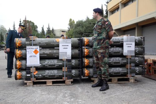 Lebanese army authorities receive the military aid provided by France with a ceremony held at an army base located in east of Beirut, Lebanon on 30 May, 2017 [Ratib Al Safadi/ Anadolu Agency]