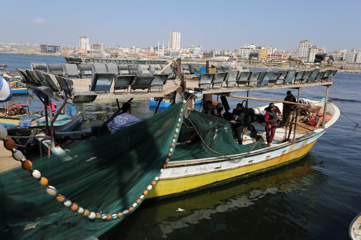 GAZA CITY, GAZA- A busy day of fishing. Israel has slightly eased restrictions on Gaza fishermen, allowing them to travel up to nine nautical miles off the coast of the blockaded territory instead of the previous six