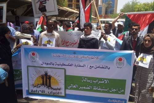Students in Sudan gather in solidarity with Palestinian hunger strikers in Khartoum, Sudan on May 10, 2017 [Alwatanvoice.com]