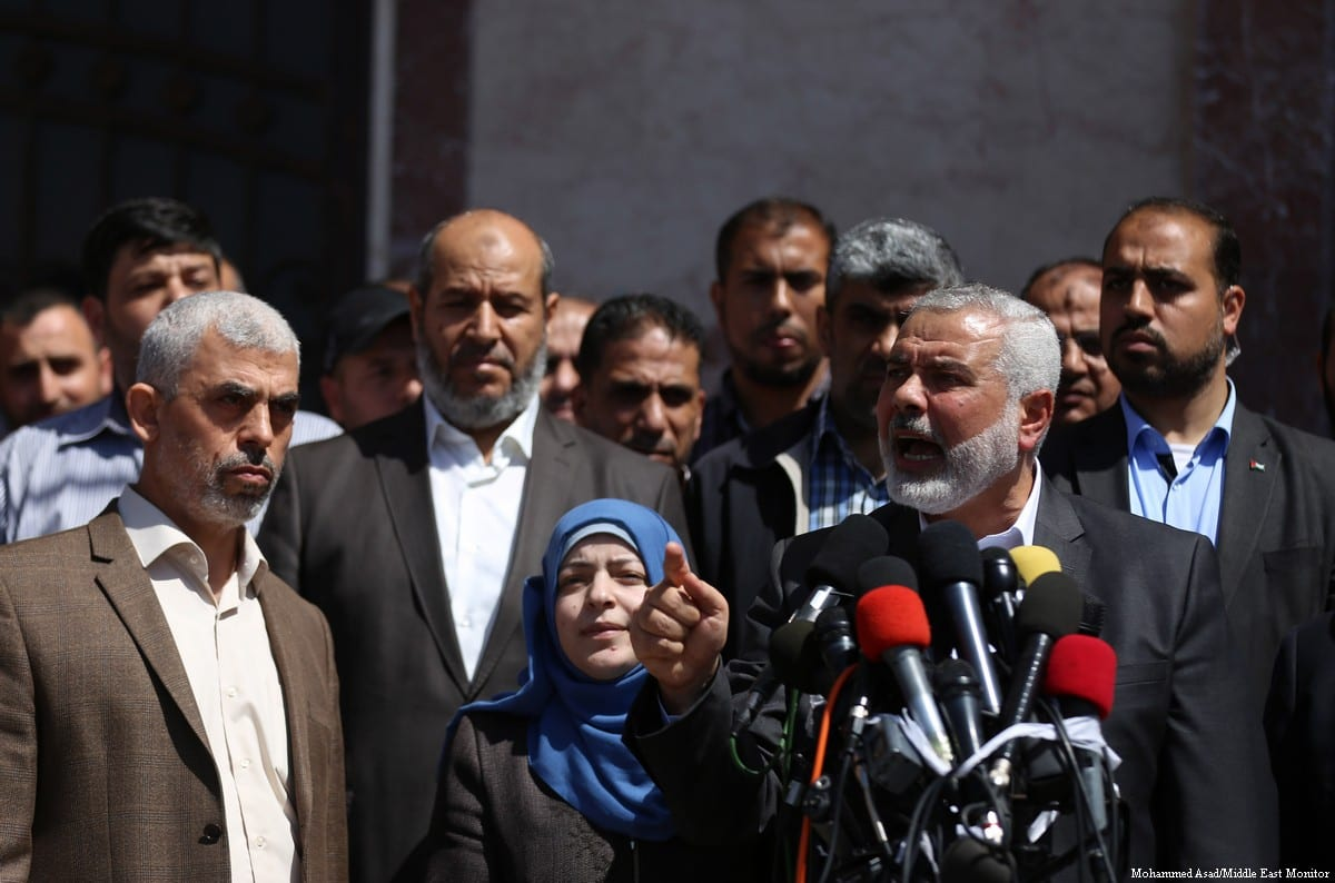 Head of Hamas Political Bureau Ismail Haniyeh at a press conference in West Bank on 11 May, 2017 [Mohammed Asad/Middle East Monitor]