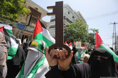 Dozens of Palestinians in Gaza participated in a march today to mark the 69th anniversary of the Nakba on 15 May, 2017 [Mohammed Asad/Middle East Monitor]