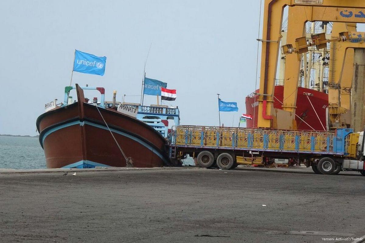 UN aid relief arrives at the port of Hudaydah, Yemen on 4 February 2017 [Yemeni Activist/Twitter]