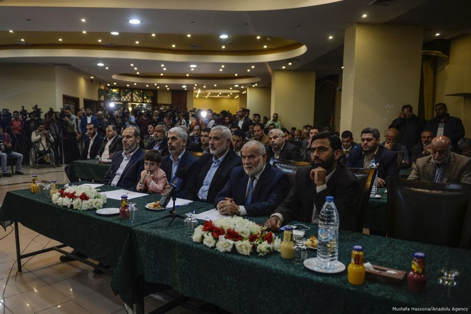 Leaders of Hamas in the Gaza Strip attend a meeting in which they express new vision and policies of Hamas in Doha, Qatar on March 1, 2017 [Mustafa Hassona/Anadolu Agency]