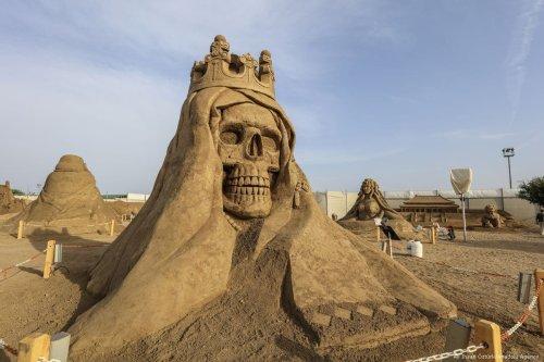 Sand sculptures are put on display during the 11th International Antalya Sand Sculpture Festival in Antalya, Turkey on May 02, 2017 [Ali İhsan Öztürk/Anadolu Agency]