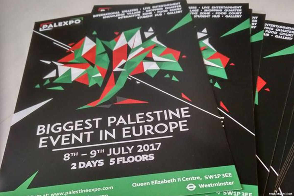Leaflets for the Palestine Expo 2017 event [Palestine Expo/Facebook]