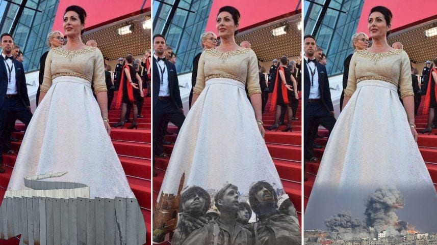 Israel's Culture and Sports Minister, Miri Regev, appeared on the red carpet on 17 May 2017 for the annual Cannes Film Festival wearing a provocative dress emblazoned with a panorama of the iconic Jerusalem skyline. Social media activists redressed the look. [Facebook]