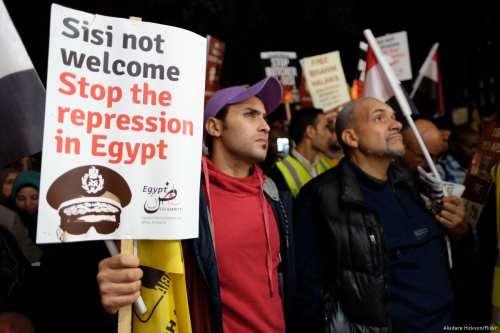 A protest against the Egyptian President Abdel Fattah Al-Sisi in London, UK on 4 November 2014 [Alisdare Hickson/Flickr]