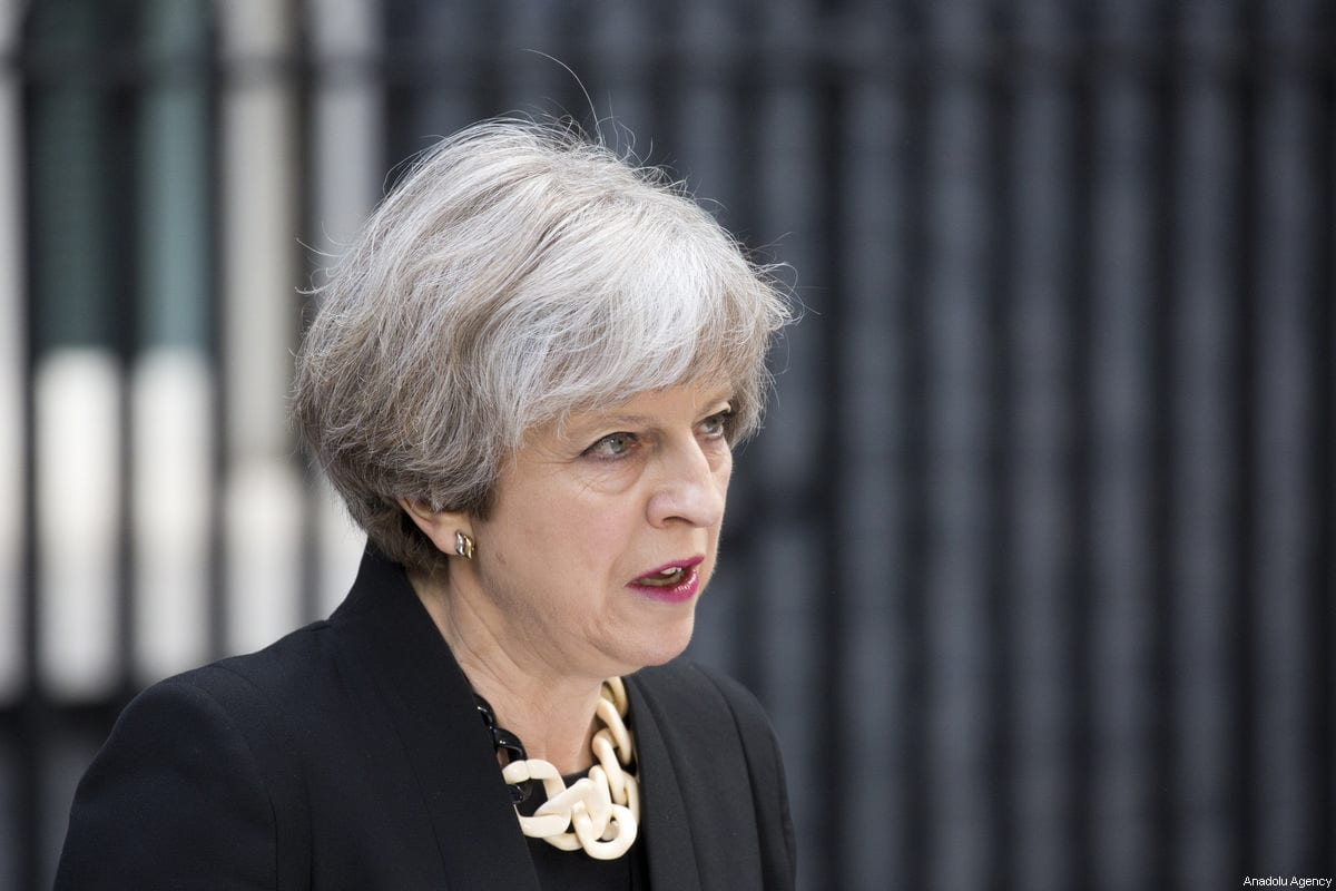 Uk muslims press for peace at 10 downing street - British Prime Minister Theresa May Delivers A Statement Outside Number 10 Downing Street In London