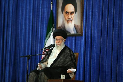 Supreme Leader of Iran, Ali Khamenei greets the crowd during the ceremony marking the 28th death anniversary of Ruhollah Khomeini, founder of the Islamic Republic of Iran, in Tehran, Iran on 4 June, 2017 [Supreme Leader Press Office/Anadolu Agency]