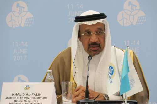 Saudi Arabia's Minister of Energy, Industry and Mineral Resources, Khalid Al-Falih speaks on Organisation of Petroleum Exporting Countries (OPEC) in Astana, Kazakhstan on June 11, 2017 [Aliia Raimbekova / Anadolu Agency]