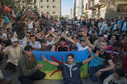 Protesters, supporting Rif Movement leader Nasser Zefzafi stage a demonstration demanding from government to take action for development of the region, in Imzouren own of Hoceima, Morocco on June 11, 2017 [Jalal Morchidi / Anadolu Agency]