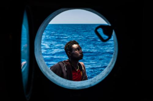 A refugee is seen after being rescued from the Mediterranean Sea on 15 June 2017 [Marcus Drinkwater/Anadolu Agency]