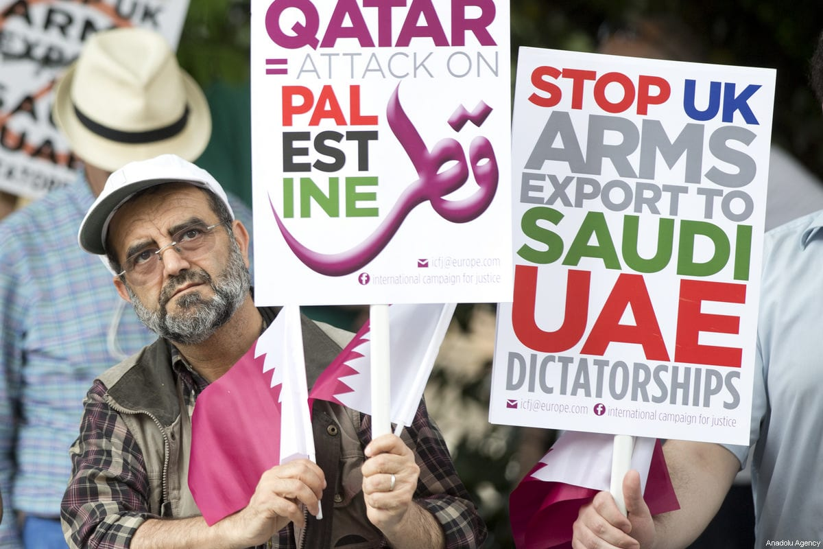 Protests in support of Qatar on 17 June 2017 [Isabel Infantes/Anadolu Agenc]