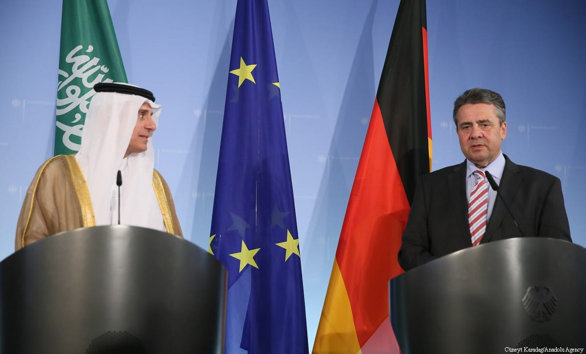 Saudi Arabian Foreign Minister Adel bin Ahmed Al-Jubeir speaks during a joint press conference with German Foreign Minister Sigmar Gabriel following their meeting in Berlin, Germany on 7 June, 2017 [Cüneyt Karadağ/Anadolu Agency]