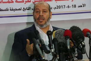 Senior political leader of the Palestinian Islamist movement Hamas, Khalil Al-Hayya, holds a press conference on 18 June 2017 in Gaza City [Mohammed Asad/Middle East Monitor]