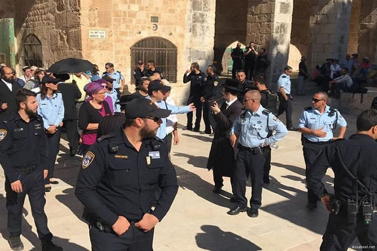 Image of Israeli forces after having stormed into the Al-Aqsa Mosque on 28 June 2017 [Assabeel.net]
