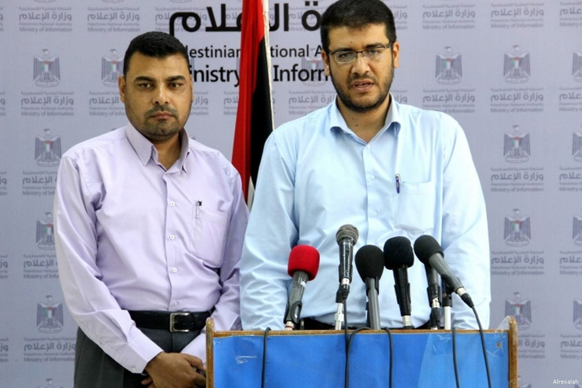 Representatives of the Palestinian Ministry of Health express their concerns on the crisis in Gaza during a press conference on 28 June 2017 [Alresalah]