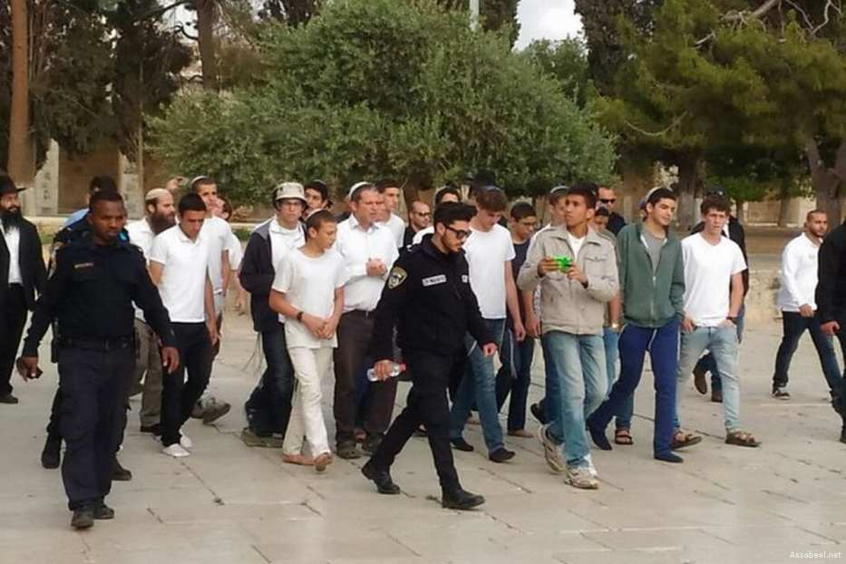 Image of the Israeli settlers who stormed into the courtyards of Al-Aqsa Mosque on 28 June 2017 [Assabeel.net]