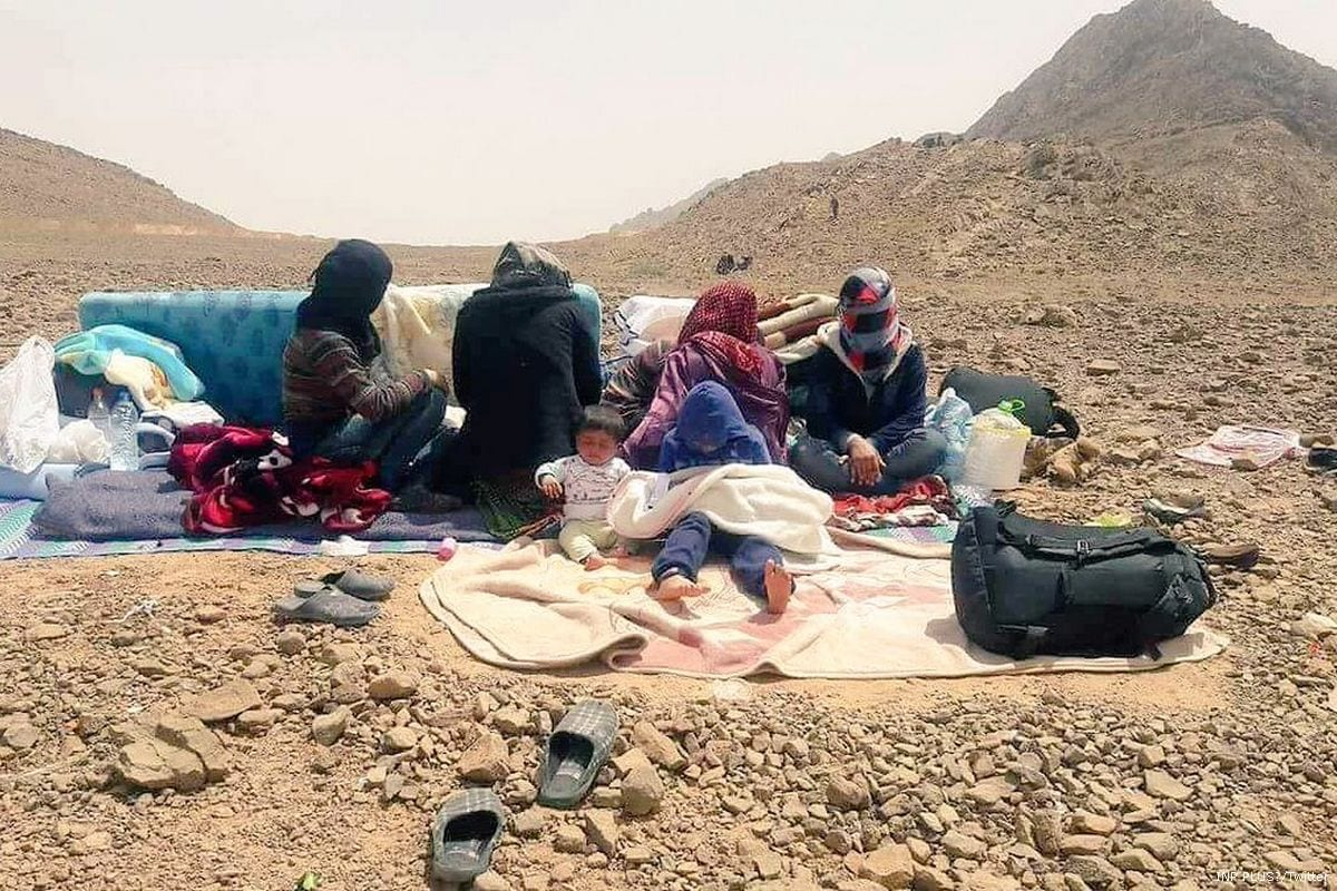 Image of Syrian refugees at the Algerian and Moroccan border [INP PLUS/Twitter]