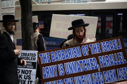 Orthodox Jews protest against compulsory military service in Israel on 8 June 2017 in New York, US [Mohammed Elshamy/Anadolu Agency]