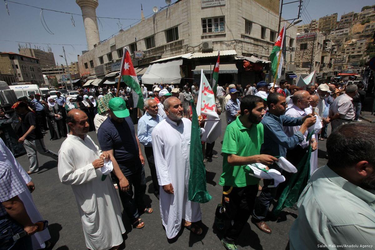 Jordanians hold banners as they attend a demonstration in support of Al-Aqsa, in Amman, Jordan on 9 June 2017 [Salah Malkawi/Anadolu Agency]