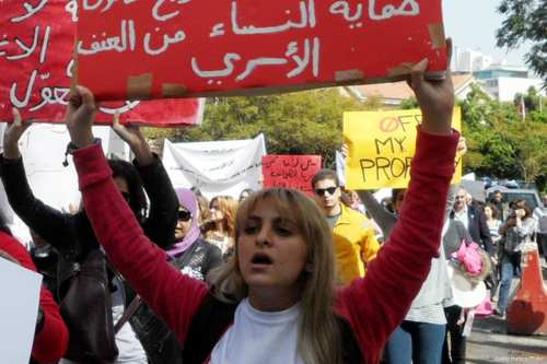 Hundred of protestors march on the streets of Beirut, Lebanon to protest against domestic violence on February 24, 2013 [Joelle Hatem/Flickr]