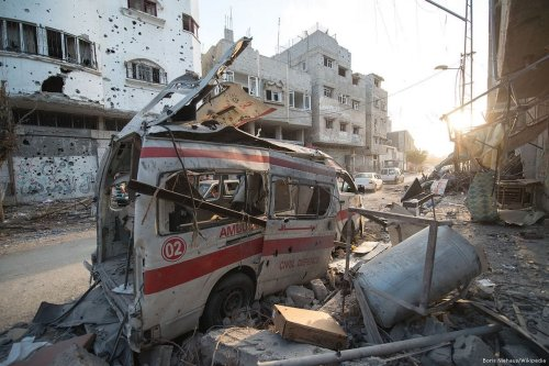 A damaged ambulance which was bombed during the Gaza war [Boris Niehaus/Wikipedia]