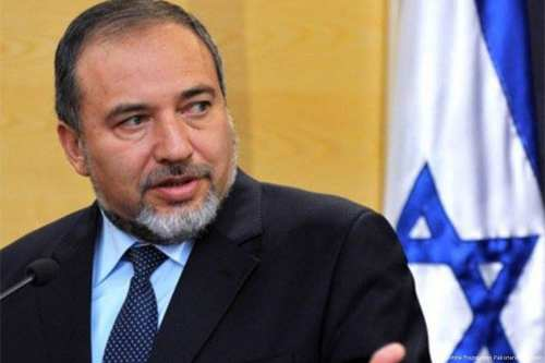 Image of Israeli Defence Minster Avigdor Lieberman on 21 April 2016 [Palestine Foundation Pakistan/Facebook]