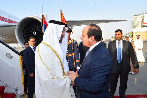 Crown Prince of Abu Dhabi Mohammed bin Zayed Al Nahyan (L) is welcomed by President of Egypt, Abdel Fattah el-Sisi (R) at the Cairo International Airport in Cairo, Egypt on June 19, 2017. ( Egyptian Presidency - Handout - Anadolu Agency )