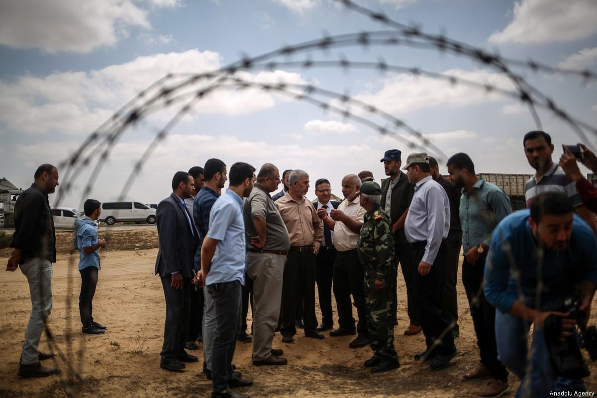 Leader of Hamas in Gaza, Yahya Es-Sinvar and Executive committee head Abdel Salam Siam arrive at the Rafah Border to implement an increase in the border security, in Rafah, Gaza on 6 July, 2017. ( Ali Jadallah - Anadolu Agency )