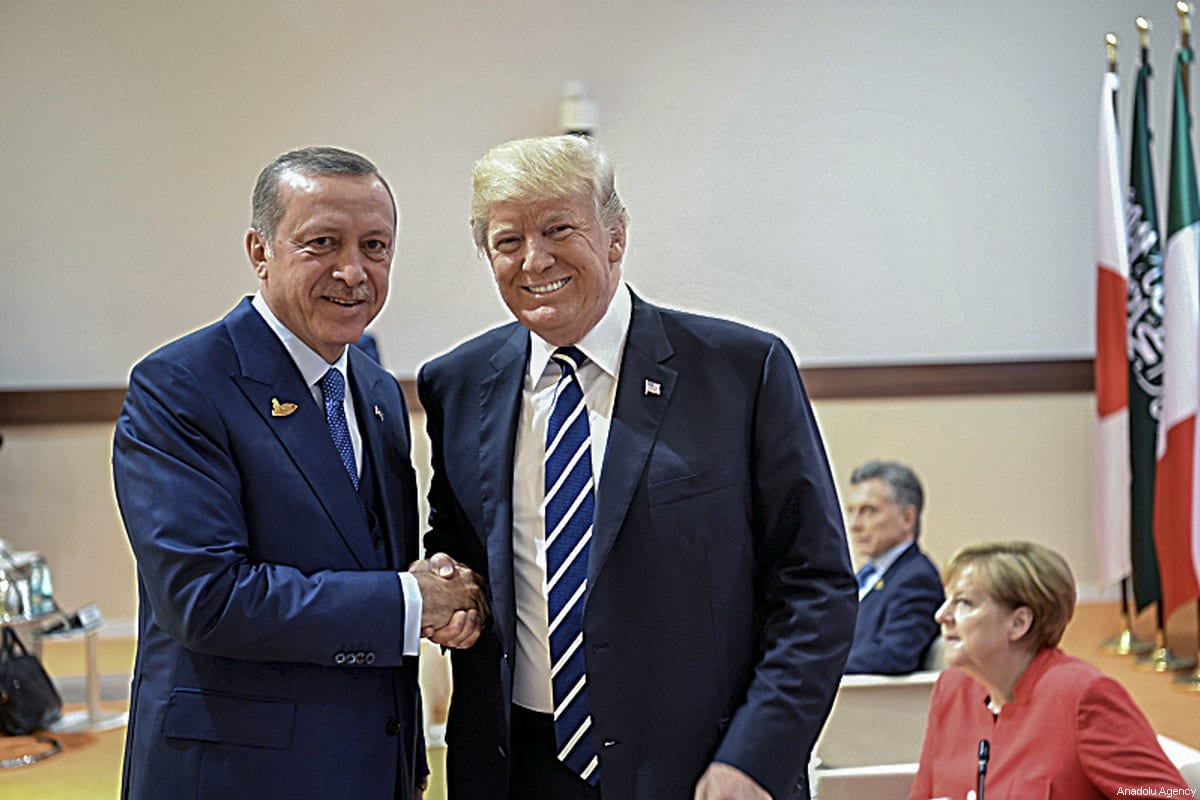 President of Turkey Recep Tayyip Erdogan (L) meets with US President Donald Trump (R) during the G20 Leaders' Summit in Hamburg, Germany on July 07, 2017 [Turkish Presidency / Handout - Anadolu Agency]