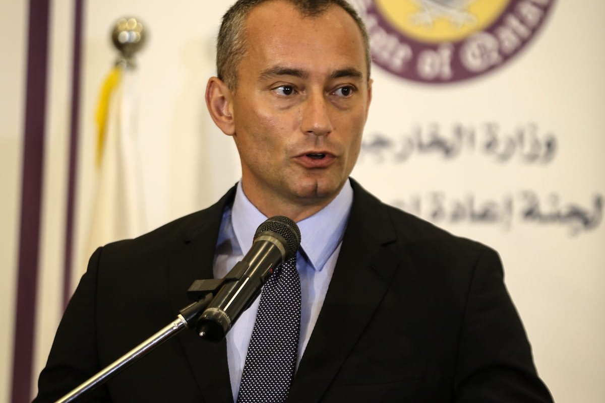 UN Special Coordinator for the Middle East Peace Process, Nikolay Mladenov speaks during a joint press conference with the head of Qatar's National Committee for the Reconstruction Gaza, Ambassador Mohammed Al-Emadi (not seen) in Gaza City, Gaza on 11 July, 2017 [Ali Jadallah/Anadolu Agency]