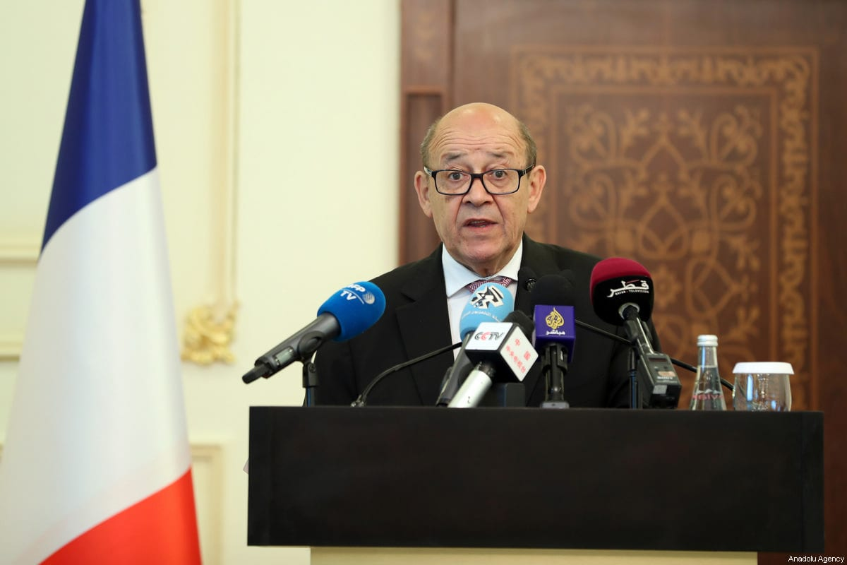 French Minister for Foreign and European Affairs Jean-Yves Le Drian seen at a press conference in Doha, Qatar on July 15, 2017 [Mohamed Farag / Anadolu Agency]
