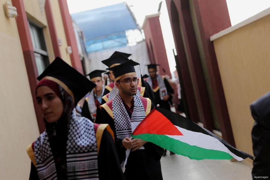 "Students prepare to attend their graduation ceremony after achieving high results known as ""Tawjihi""in Gaza"