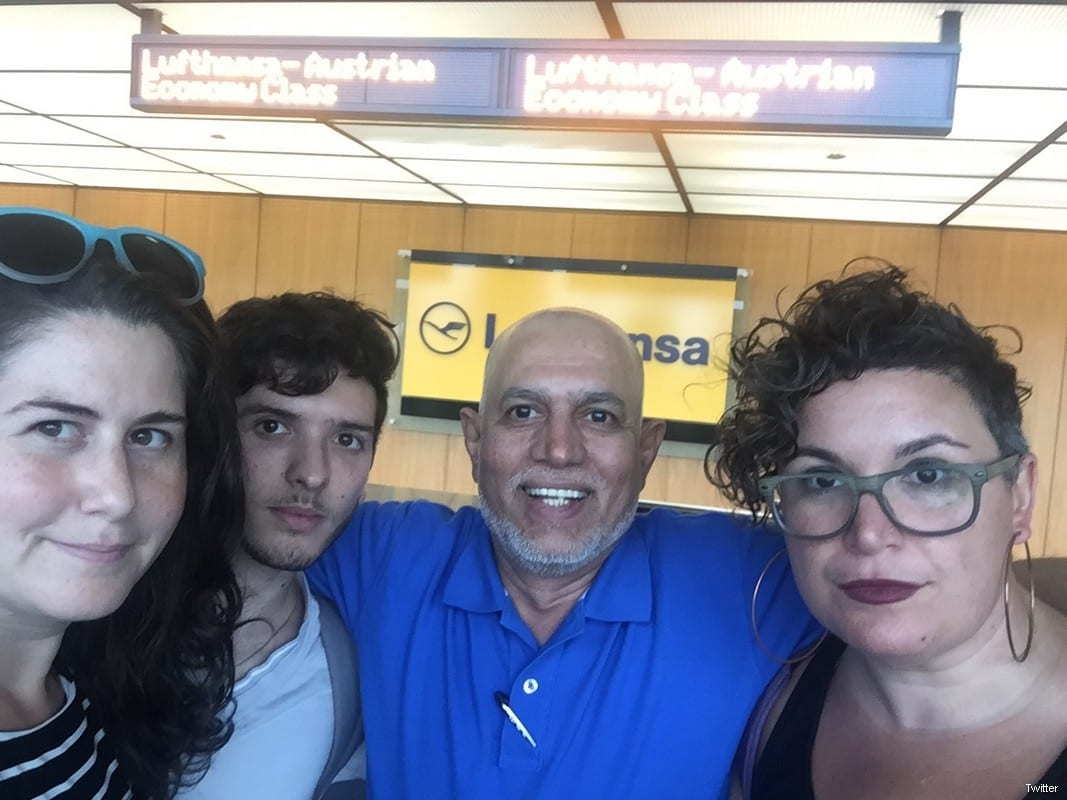 Rabbi Alissa Wise (R) and five other leaders on an interfaith delegation to Israel/Palestine were refused permission to board their plane in the United States, in what appears to be an implementation of Israel's travel ban on supporters of Palestinian rights and Boycott, Divestment Sanctions (BDS) [Jewish Voice for Peace]