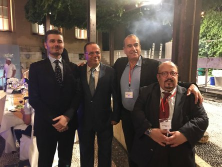 Libyan Minister of Media, Culture and Antiquities for the General National Congress in the eastern Beida authority, Omar Al-Gawairi, (far left) with Israeli Minister of Communications, Ayoub Kara, (second left) and Chairman of the Union of Libyan Jews, Raphael Luzon, (right) in Rhodes, Greece, posted online on 30 June 2017 [Ayoub Kara/Facebook]