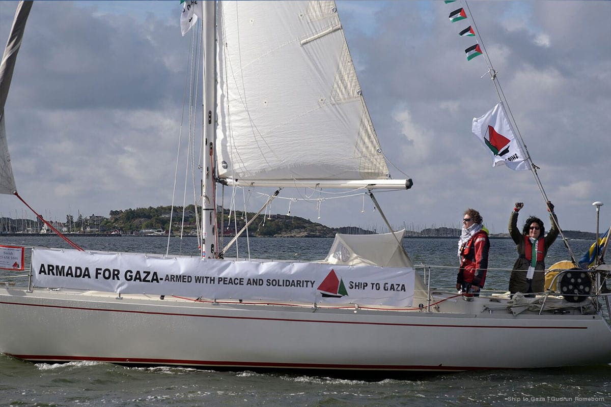 Ship to Gaza's first campaign boat, Mairead, is seen in Sweden [Gudrun Romeborn]