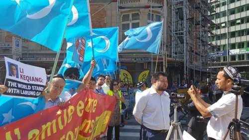 Abdugheni Sabit, Uyghur activist, during a protest. He left China in 2007 and settled in the Netherlands