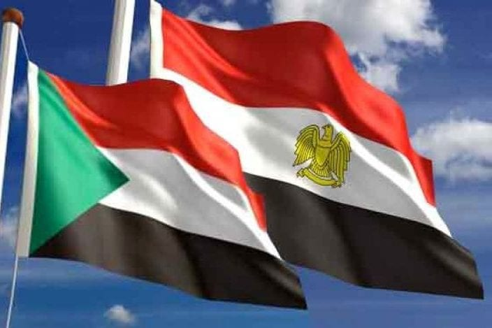 Flags of Egypt and Sudan [Qudspress]