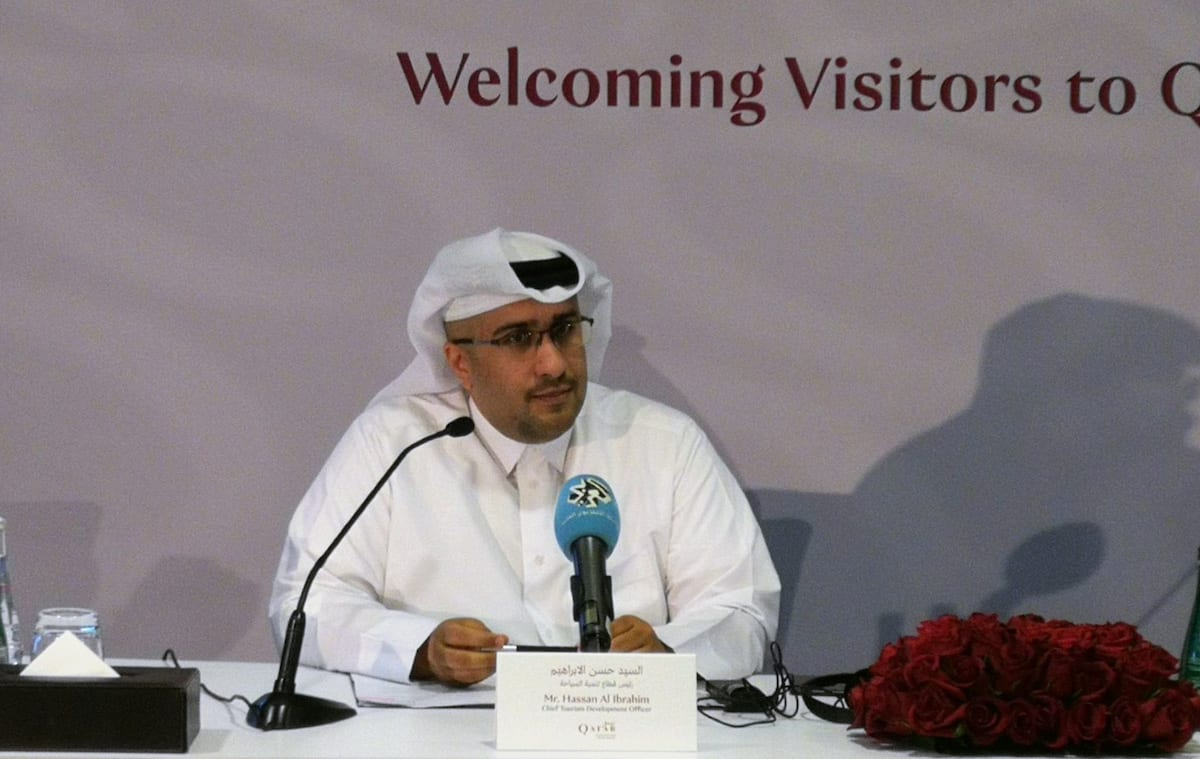 Chief Tourism Development Officer at Qatar Tourism Authority, Hassan Al Ibrahim speaks during a joint press conference in Doha, Qatar on 9 August, 2017 [Ahmed Youssef Elsayed Abdelrehim/Anadolu Agency]